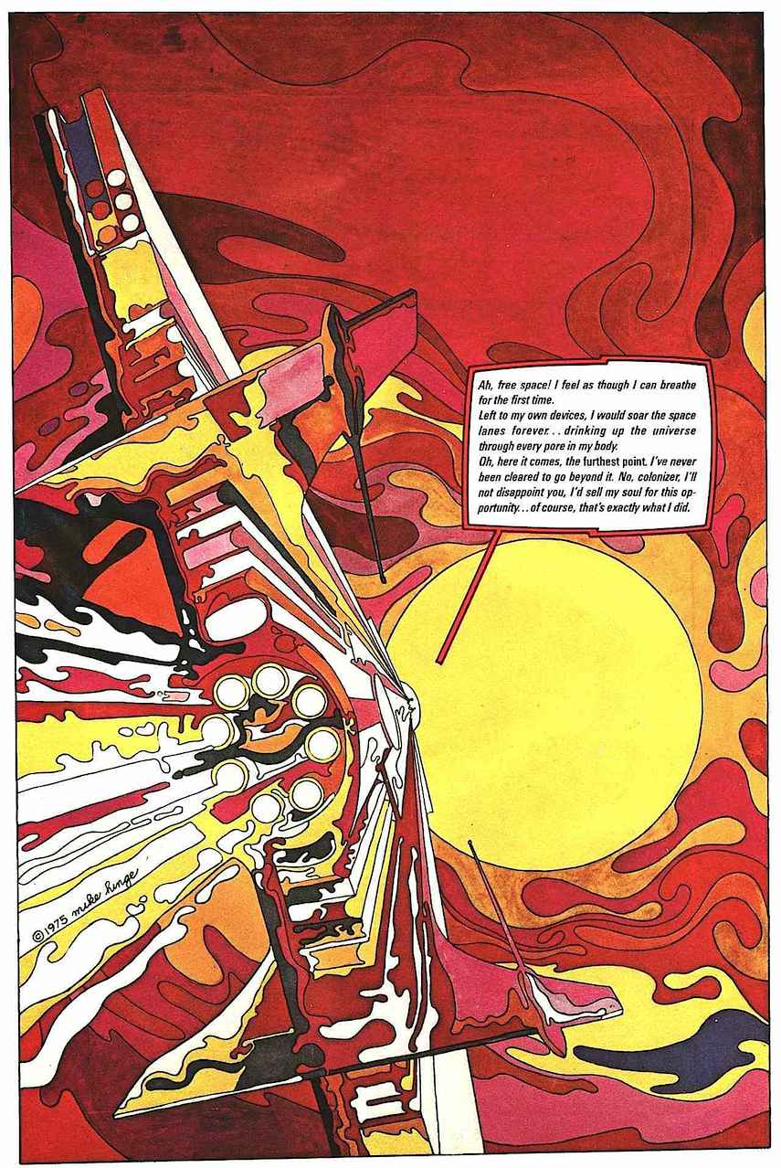 Mike Hinge comic book art, sun and space