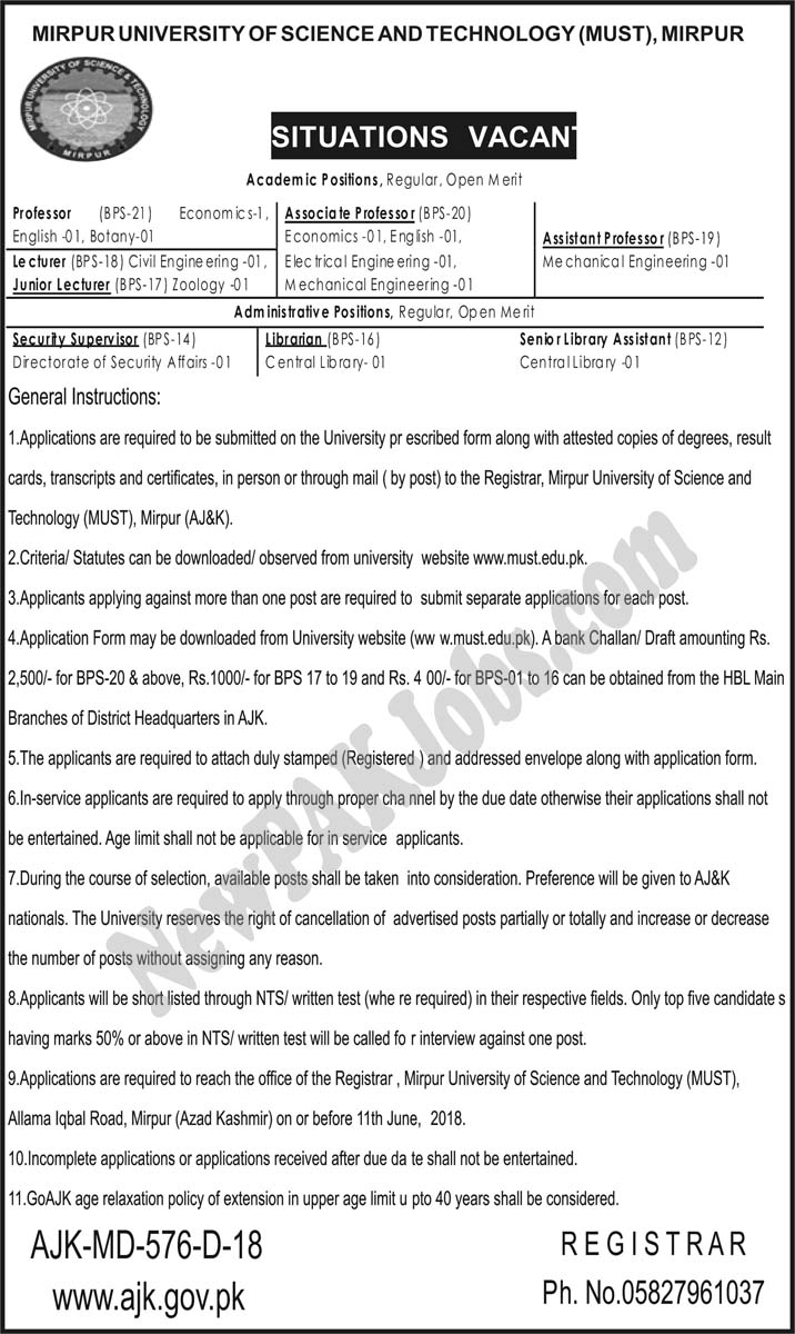 AJK Jobs 2018 in Mirpur University of Science and Technology |Download Application Form must.edu.pk