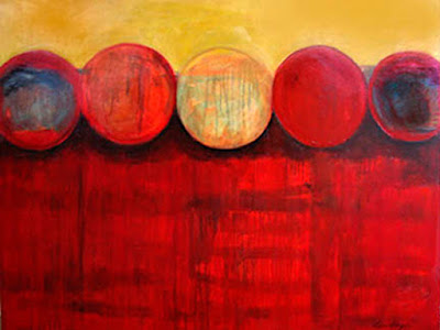 "Contemporary Abstract Red Art Painting ""Moonshadows"" by Abstract Artist Lela Kay"