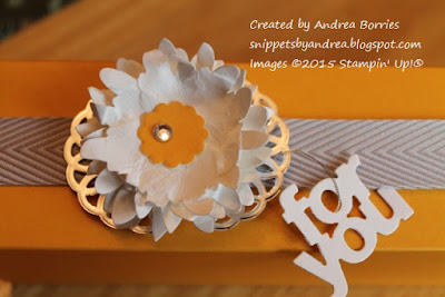 Belly band made with chevron ribbon, a layered flower and a silver doily.