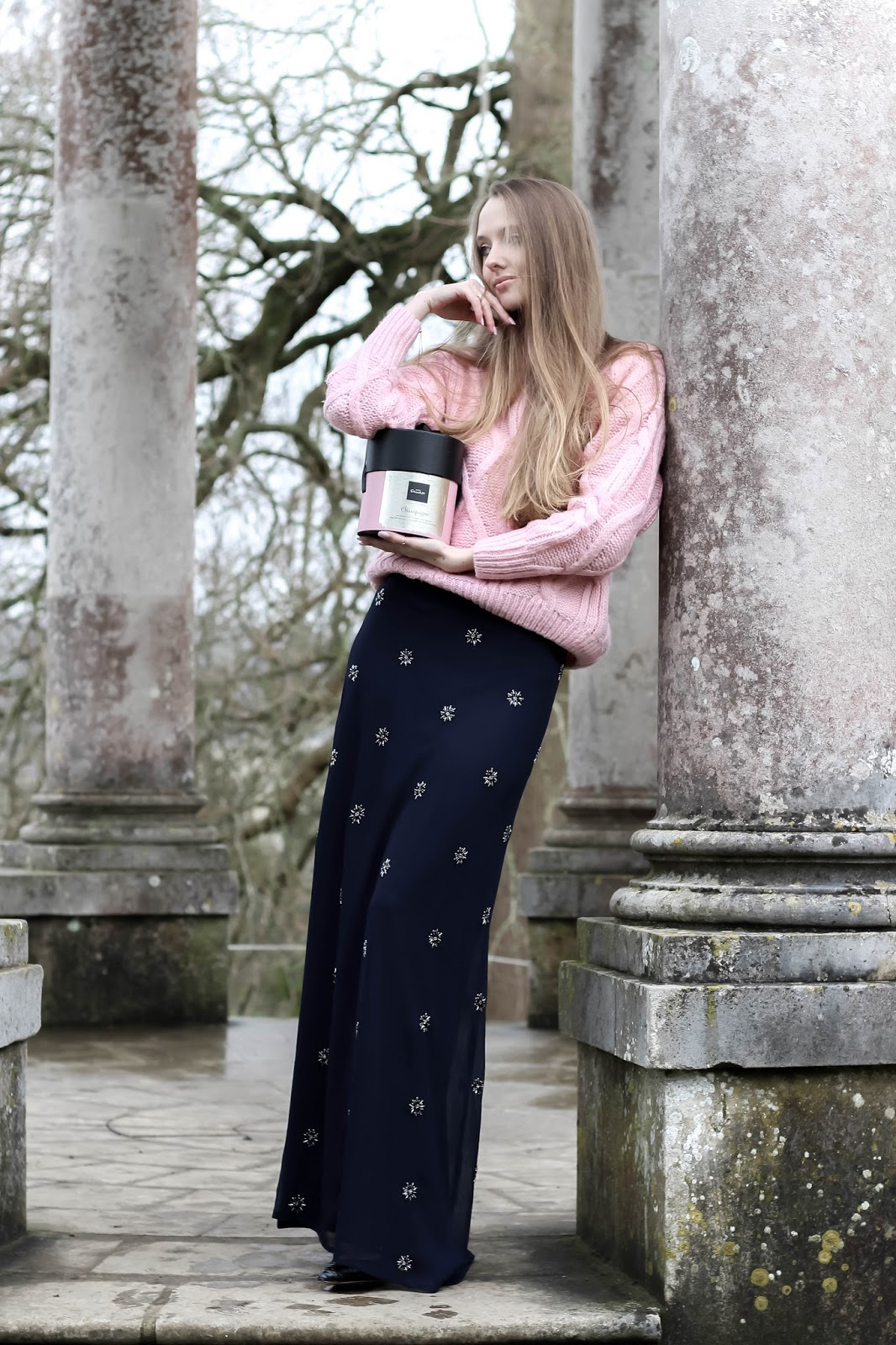 Styling embellished maxi skirt for cold weather