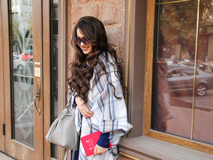 fashion blogger diyora khalilova diyorasnotes oversized scarf asos midi dress slipons grey bag zara
