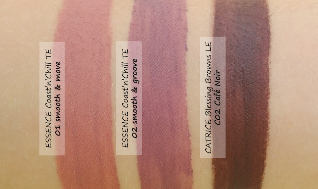 Essence Coast'n'Chill TE and Catrice Blessing Browns LE Matte Liquid Lipsticks Swatches