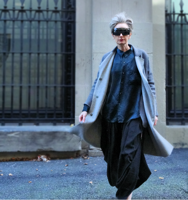 Melanie Kobayashi of Bag and a Beret in overcoat from Yuzhe Studios
