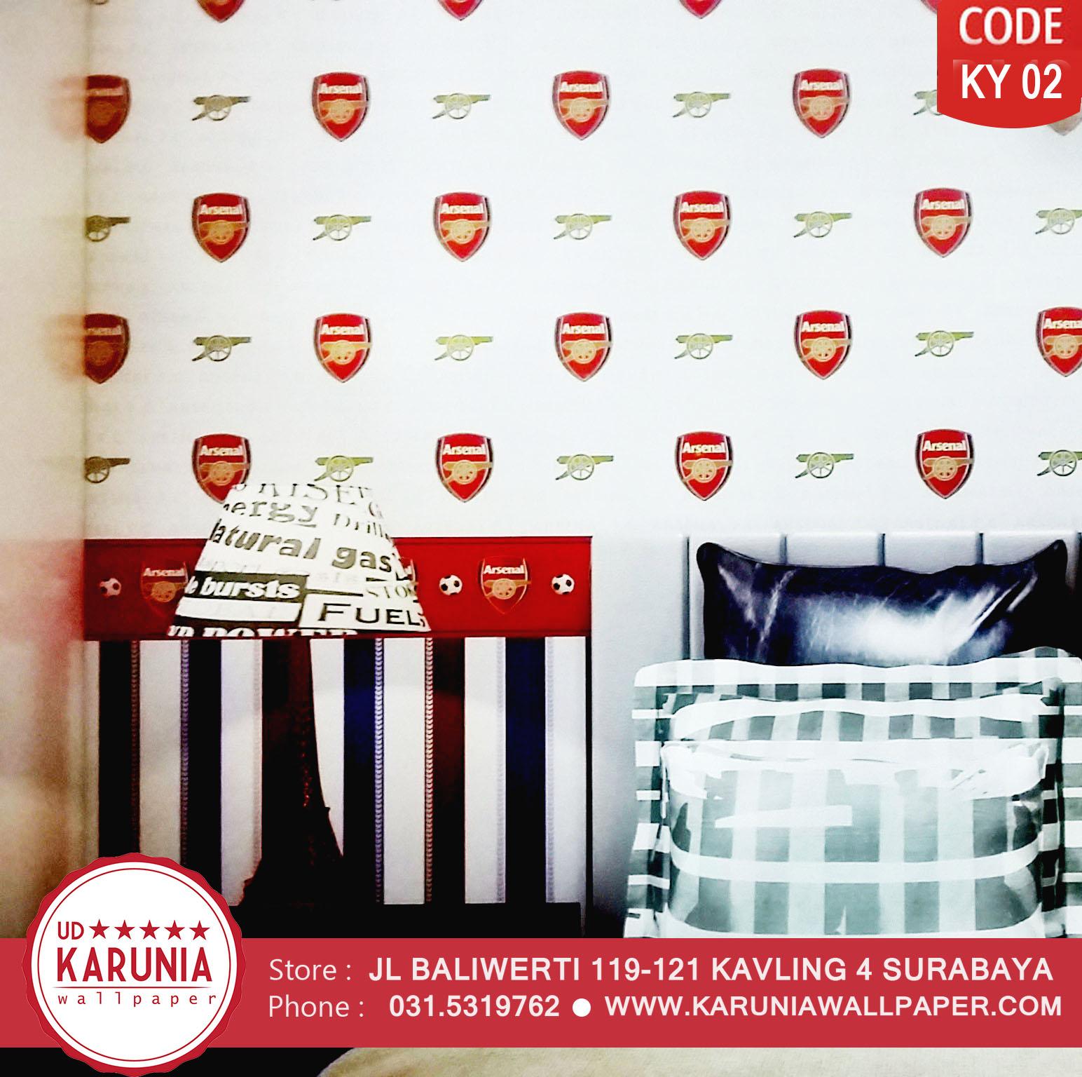 jual wallpaper motif klub sepak bola arsenal surabaya karuniawallpaper