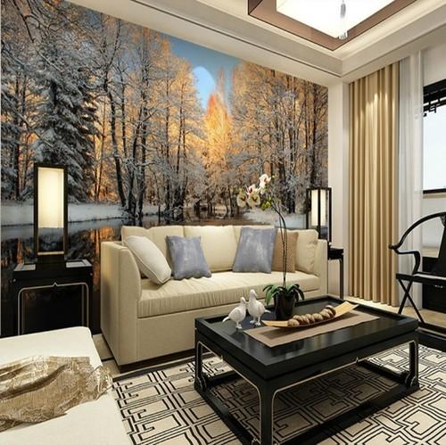 metsä tapetti talvimaisema tausta seinä metsäluonnon valokuvatapetti metsä taustakuva lumi