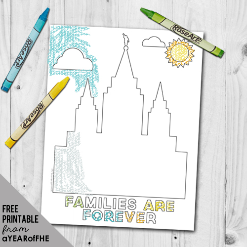 A Year Of Fhe Free Coloring Page Families Are Forever Lds Temple
