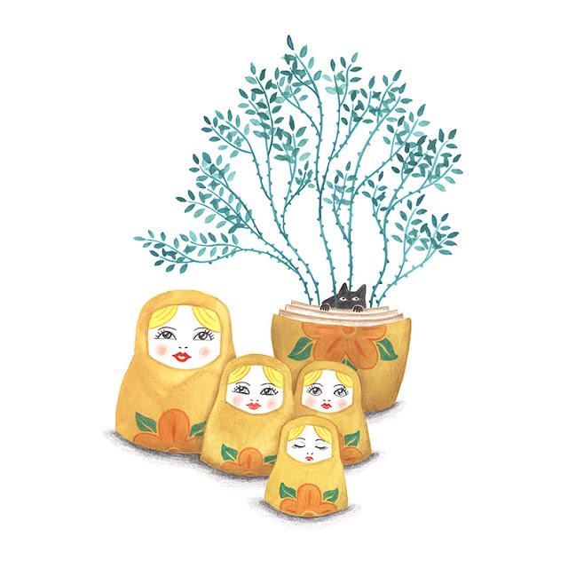 Muñecas rusas, matrioskas, planta con espinas