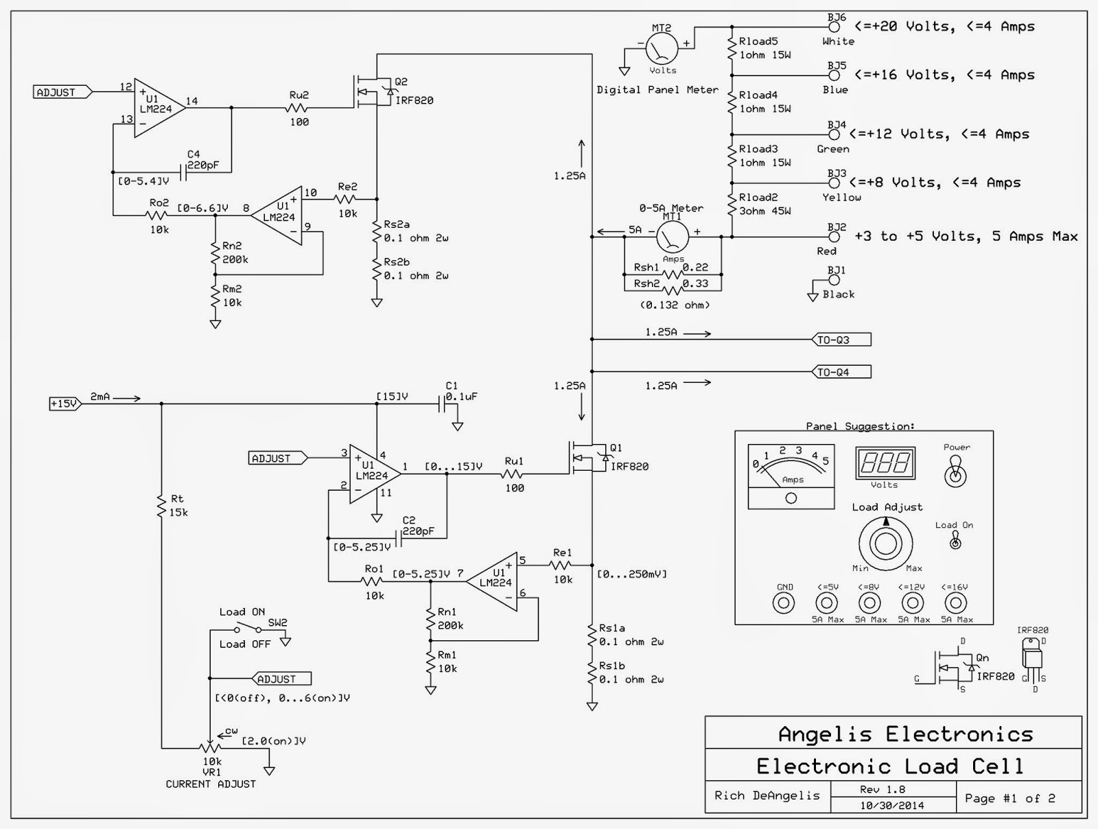 Electronic Load Simulator Angelis Electronics Rgb 3 Watt Led Color Mixer Controller Circuit Making Use Of Ic Lm317 I Documented Some The Expected Voltages And Currents On Schematic All Incoming From Banana Jacks Travel Through