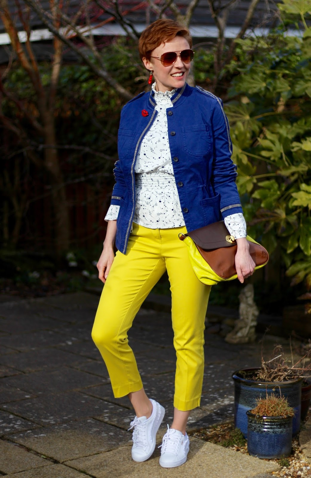 Blue Boden Beaded Band Jacket, Yellow Trousers | Spring Style | Fake Fabulous