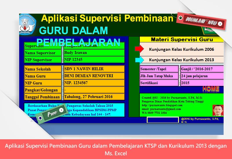 Aplikasi Supervisi Pembinaan Guru dalam Pembelajaran KTSP dan Kurikulum 2013 dengan Ms. Excel