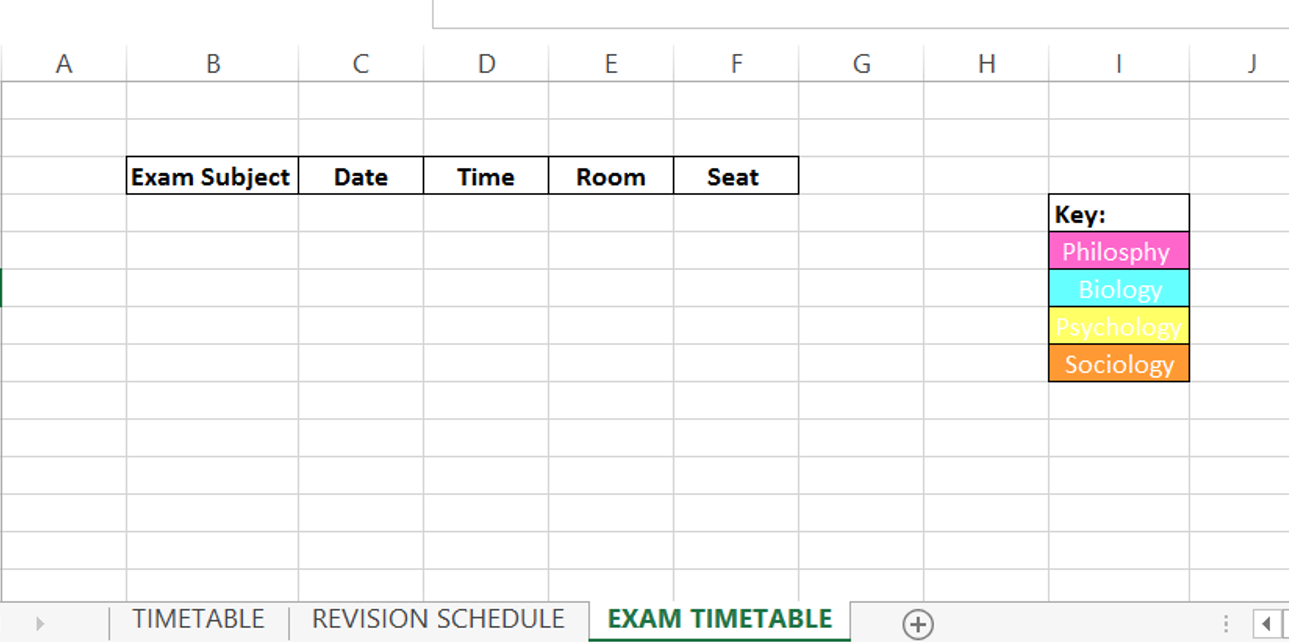 How To Balance Life And Blogging school exam timetable ideas spreadsheet college