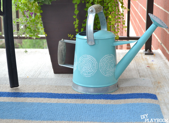 My watering can and DIY rug go so well together.