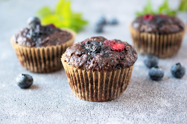 Double Chocolate Berry Muffins (Vegan)