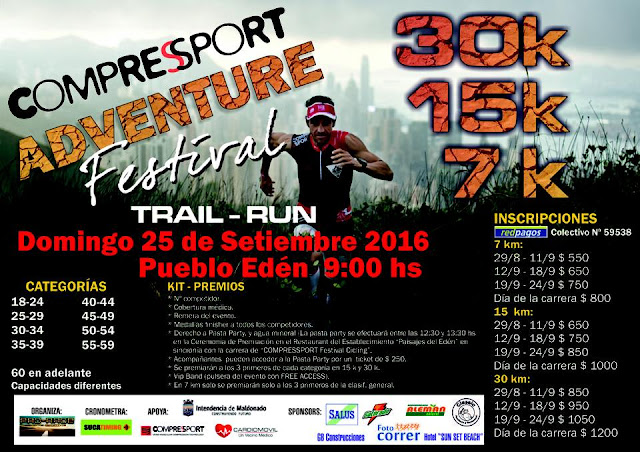 30k 15k 7k Compressport Adventure Festival en Pueblo Edén (trail run, Maldonado, 25/sep/2016)