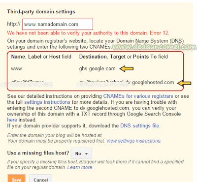 Cara, tukar, domain, .blogspot, .com