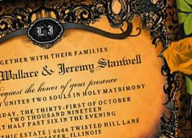 Orange and Black Elegant Halloween wedding Invite
