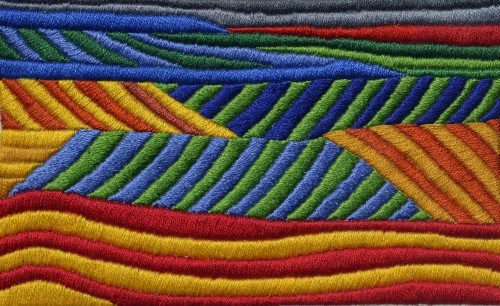 satin stitch, modern embroidery, contemporary embroidery, color embroidery, bold colors, embroidery and art