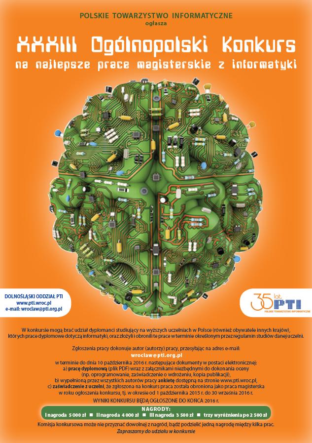 XXXIII Ogólnopolski Konkurs na najlepsze prace magisterskie z informatyki - plakat reklamowy