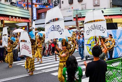 Barbaros team's bandeiras at the 2016 Asakusa Samba Festival, Tokyo, Japan.