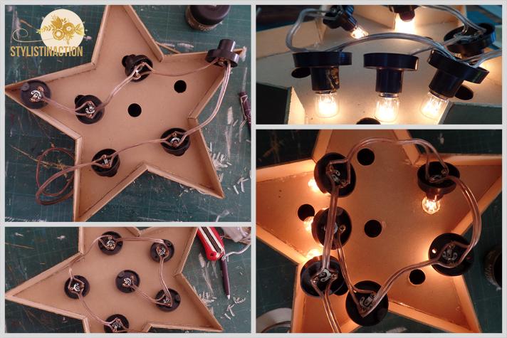 DIY para hacer una estrella de marquesina o marquee light. Es muy facil. Instalacion electrica para que enciendan como en una verdadera marquesina