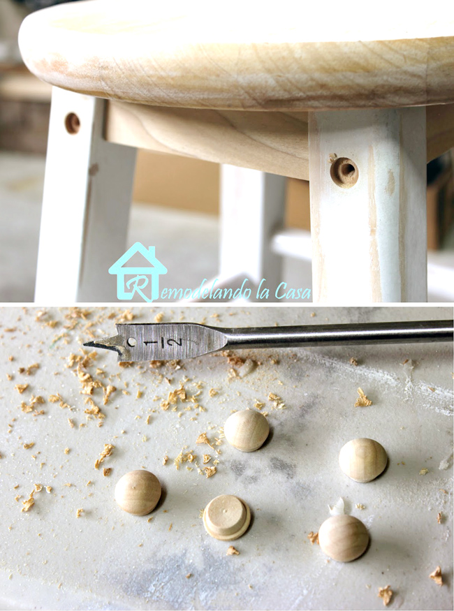 installing wooden screw covers as nice decor on stools
