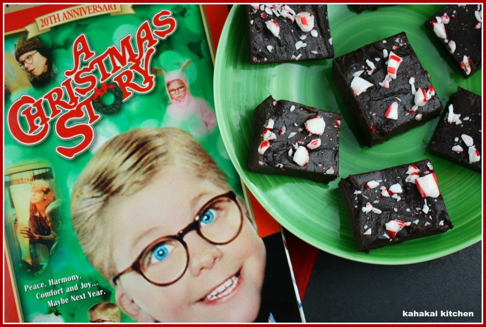 Creamy Dark Chocolate Peppermint Fuuudge!  inspired by A Christmas Story by Kahakai Kitchen - A Christmas Story #FoodnFlix roundup via allroadsleadtothe.kitchen