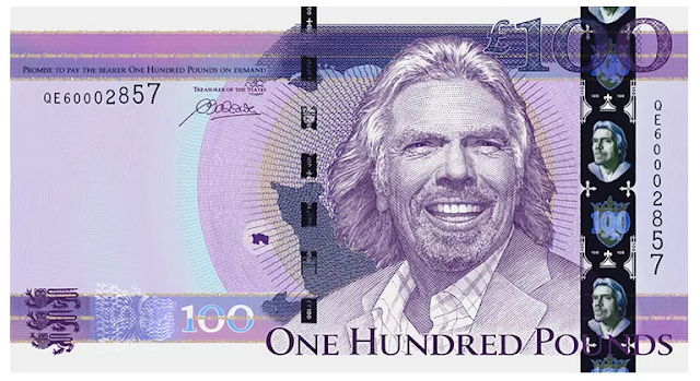 Richard Branson of Virgin Galactic Group Face on the 100 Pound Bill