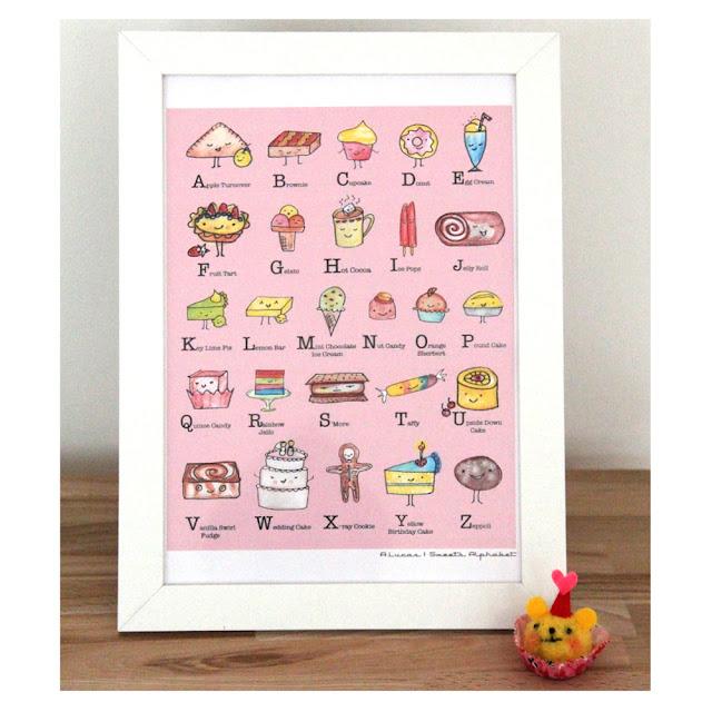 Day 8: Kawaii Desserts ABC Alphabet Art Print Giveaway | Linzer Lane Blog