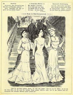 Revista antigua: Dos caballeros hablan en lo alto de una escalera sobre sobre tres damas