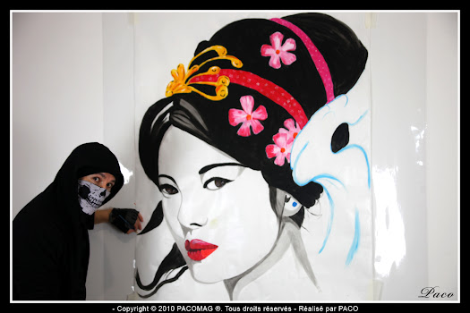 Geisha steet art collage sedan