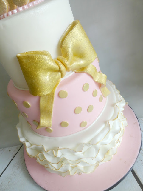 my pink little cake pink gold and white baby shower cake with