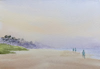 Step by step water color painting of a misty morning scene at a beach in Goa