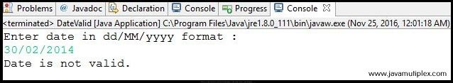Output of Java program check whether given date is valid or not - case 2