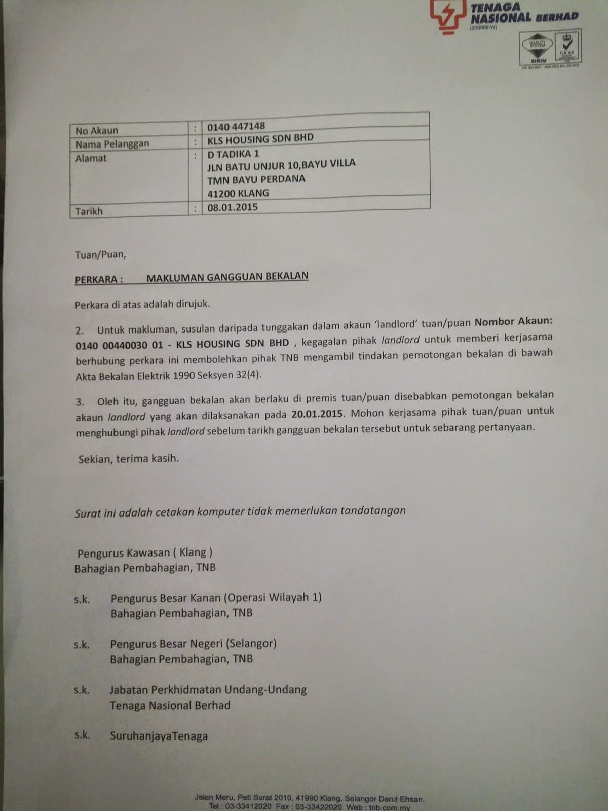Contoh Surat Rasmi Pemotongan Bekalan Elektrik - Contoh Tiap