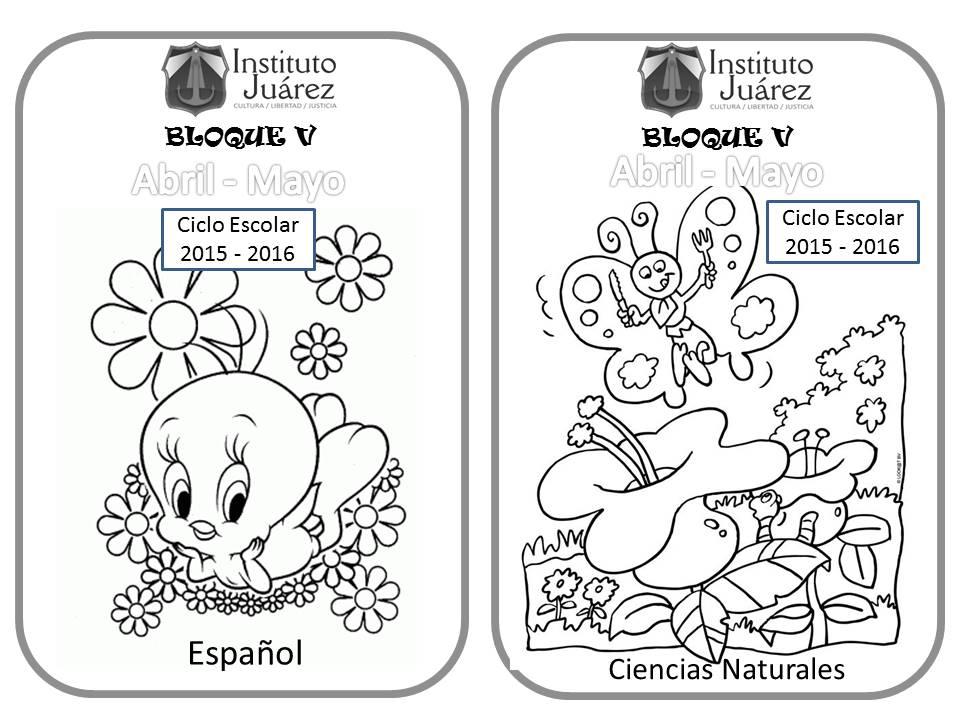 Imagenes Para Portada De Español Para Colorear: Instituto Juárez 3° Primaria: Portadas De 5to Bimestre Español