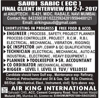 Sabic Saudi Arabia jobs 2017