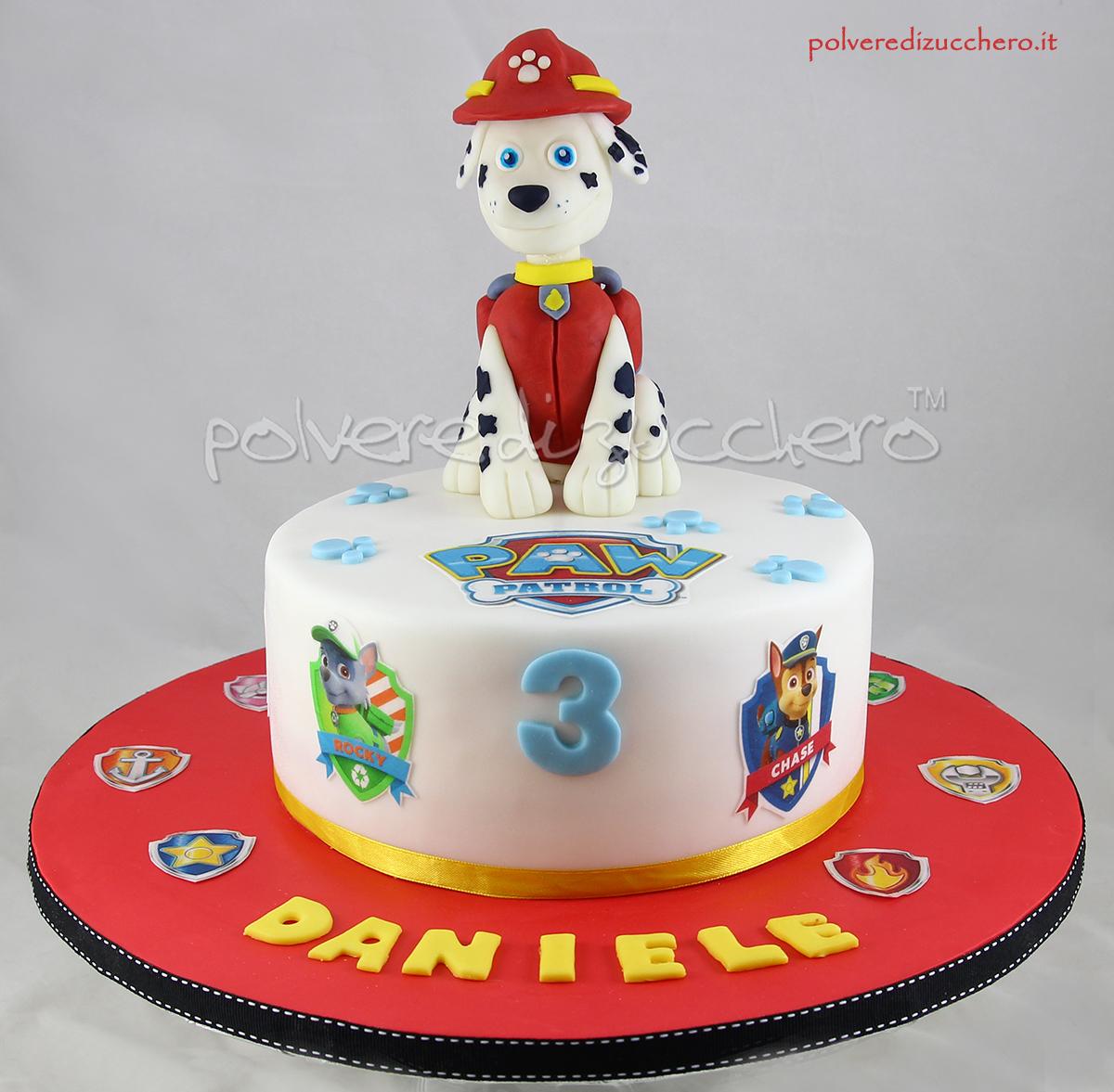 Super Torta decorata Paw Patrol: con Marshall tridimensionale in pasta  OL49