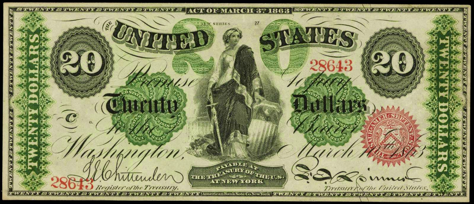 United States currency 20 Dollar Legal Tender Note Liberty 1863