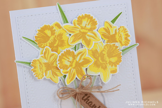 Thanks Card by Juliana Michaels featuring Sunny Studio Stamps Daffodil Dreams Stamp and Die Set and Vintage Jar Stamp and Die Set