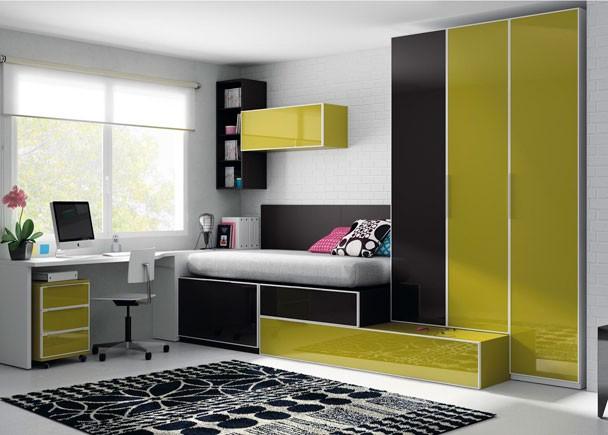 Dormitorio juvenil para 2 adolescentes con camas ...