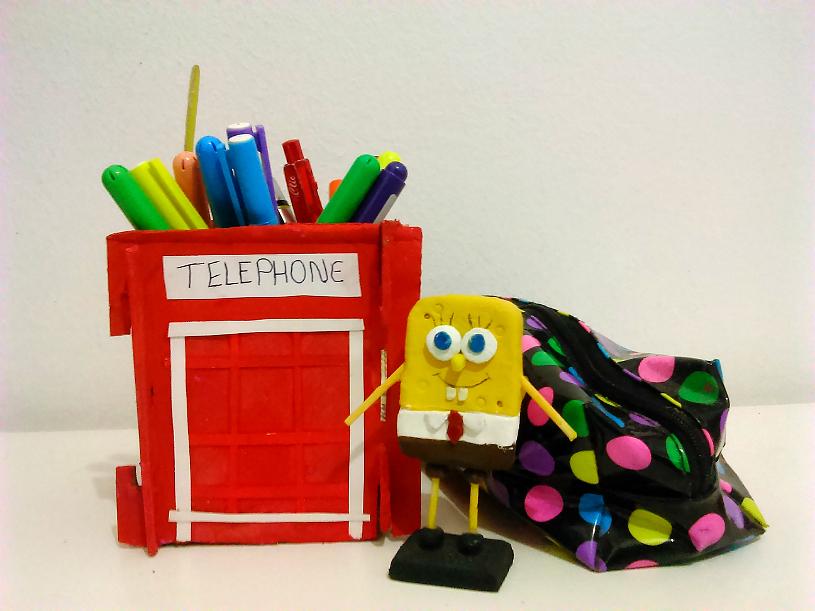 Senhorita Meow Diy: Porta-Lápis da cabine telefônica de Londres.