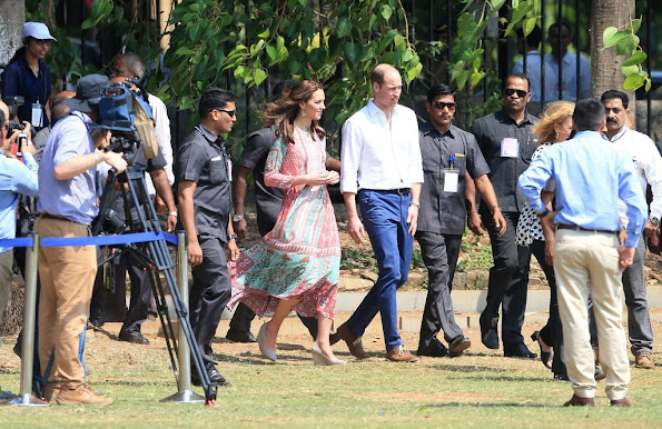 Prince William, Duke of Cambridge and Catherine, Duchess of Cambridge during a visit to meet children from Magic Bus, Childline and Doorstep, three non-governmental organizations, and watch a game of cricket at Mumbai's iconic recreation ground