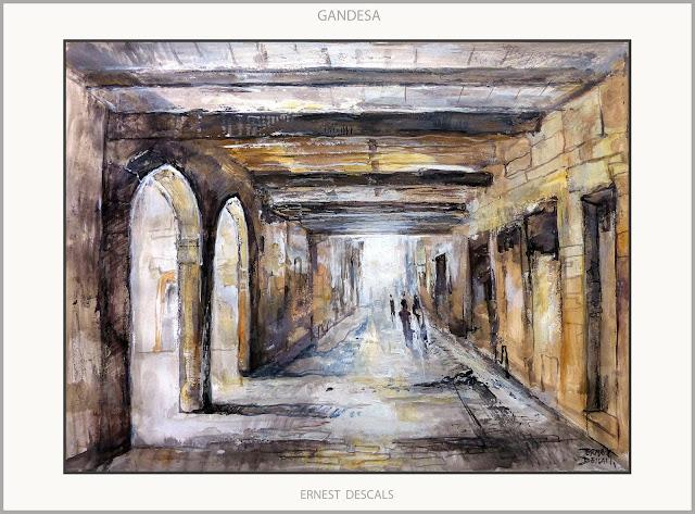 GANDESA-PINTURA-PAISATGES-TERRA ALTA-POBLES-TARRAGONA-CATALUNYA-PINTURES-ARTISTA-PINTOR-ERNEST DESCALS-