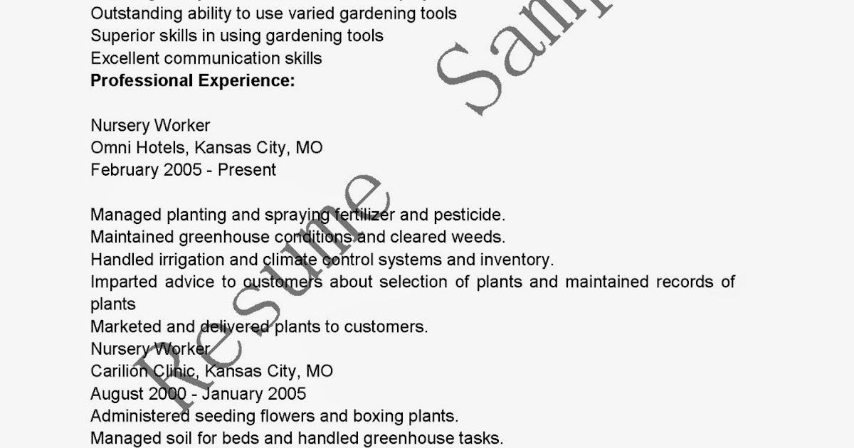 Plant Nursery Worker Sample Resume Professional Plant Nursery