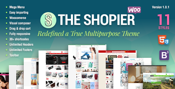 Shopier V1.1- Responsive Multipurpose WordPress theme