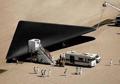 Secret stealth military plane shaped like a triangle UFO.