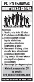Peluang Kerja Admin PT. Inti Bharu Mas Bandar Lampung Terbaru Mei 2016