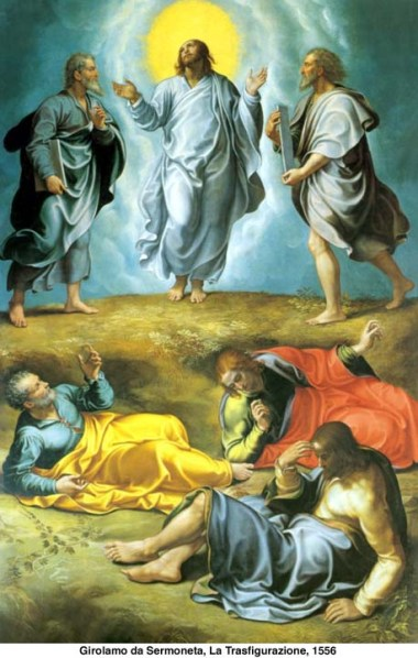 Risultati immagini per Gesù prese con sé Pietro, Giovanni e Giacomo e salì sul monte a pregare. Mentre pregava, il suo volto cambiò d'aspetto e la sua veste divenne candida e sfolgorante. Ed ecco, due uomini conversavano con lui: erano Mosè ed Elìa, apparsi nella gloria.