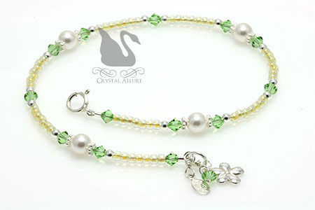 Yellow Green Crystal Pearl Precious Daisy Beaded Anklet (A114)